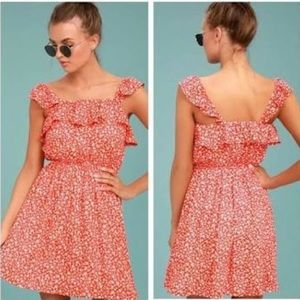 Moon River Red Floral Day Dress